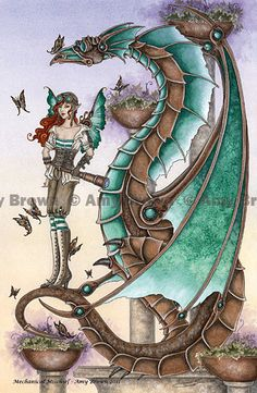Steampunk Dragon and fairy 8.5x11  PRINT by Amy Brown Mechanical Mischief