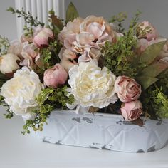 French Country/Cottage Decor, Shabby Chic Centerpiece, Peonies and Hydrangeas in a White Distressed Metal Pail – 2019 - Floral Decor Arrangements D'hortensia, Faux Flower Arrangements, Beautiful Flower Arrangements, Beautiful Flowers, Peony Arrangement, Shabby Chic Centerpieces, Floral Centerpieces, French Country Cottage, French Country Decorating
