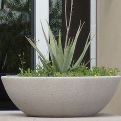 Precast concrete planters and pots manufactured in Sedona, AZ. Shop now from Arizona Pottery. Modern Backyard, Modern Landscaping, Front Yard Landscaping, Large Garden Pots, Garden Planters, Planter Pots, Concrete Bowl, Concrete Planters, Precast Concrete