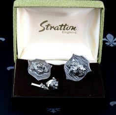 STRATTON England Vintage Gents Set Cufflinks & Tie Pin LIONS Original Box