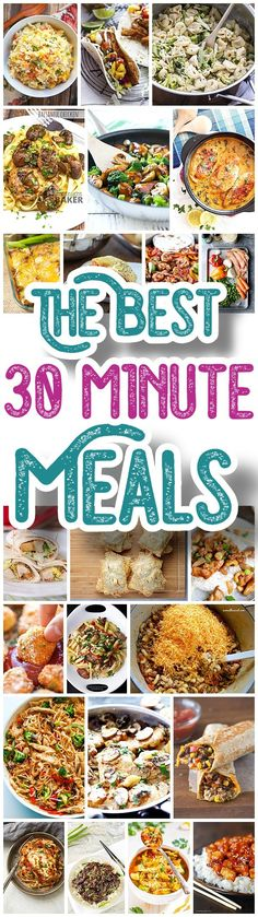 The BEST 30 Minute Meals Recipes - Easy, Quick and Delicious Family Friendly Lunch and Dinner Menu Ideas - Dreaming in DIY (quick kid dinners families) Entree Recipes, Lunch Recipes, Easy Dinner Recipes, Cooking Recipes, Quick Meals For Dinner, Quick Family Dinners, Water Recipes, Meal Recipes, Grilling Recipes