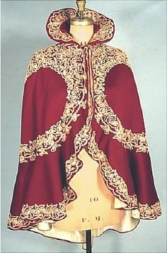 Cranberry/burgundy wool soutache winter cape with high collar, c. 1898-1900 #cape #Victorian