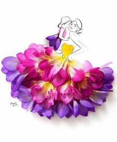 Grace ciao is a fashion illustrator residing in Singapore, who creates alluring designs using real flower petals. Grace loves flower petals, design paints, sketches and illustrations of different t… Grace Ciao, Arte Floral, Flower Petals, Flower Art, Art Flowers, Drawing Flowers, Arte Fashion, 3d Fashion, Girl Fashion