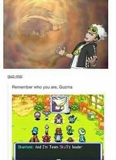 If Guzma wasnt a bug type specialist, I bet he would have skunktank. But why dont any of the grunts have team skull pmd pkmn?! I think some have zubats and plumeria has a golbat but thats it!