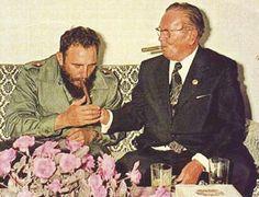 Josip Tito Broz & Fidel Castro Enjoying Some Cuban Cigars, 1970s