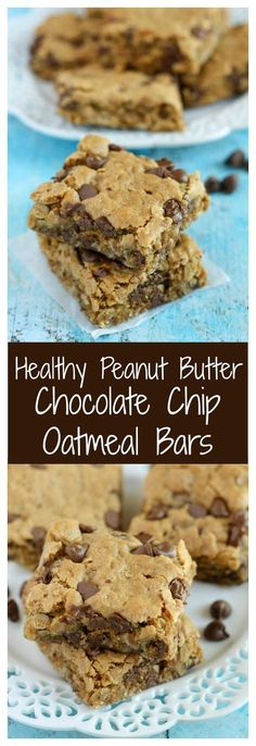 Diet Snacks Healthy Peanut Butter Chocolate Chip Oatmeal Bars~ really good! I used half the amount of sugar and dark chocolate chunks. Baked at 325 for 16 min. Healthy Deserts, Healthy Sweets, Healthy Dessert Recipes, Healthy Baking, Baking Recipes, Delicious Desserts, Yummy Food, Healthy Snacks, Healthy Chocolate Snacks