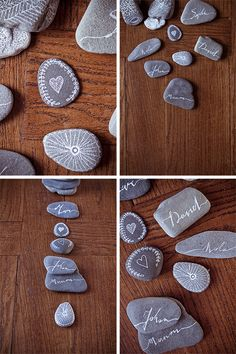DIY-rollers place - Décoration et Bricolage Pebble Painting, Stone Painting, Diy Painting, Wedding Place Cards, Diy Home Crafts, Craft Business, Dremel, Stone Art, Diy For Kids