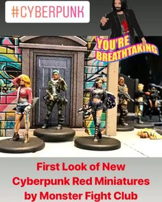 First look at the new Cyberpunk Red Miniatures from Monster Fight Club Cyberpunk 2020, Take A Breath, Fight Club, Miniatures, Red, Minis