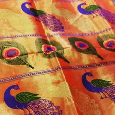 """""""A contemporary paithani saree design at the Mughal Silk Bazaar near Ellora Caves. The peacock motif is a bit different in traditional designs. #paithani…"""""""