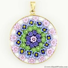 Millefiori pendant in gold-plated frame 32mm