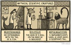 Tom Gauld for the New Scientist. Science Cartoons, Science Puns, Cartoon Posters, Cartoon Art, Line Doodles, New Scientist, Doodle Drawings, Writing Inspiration, Mythical Creatures