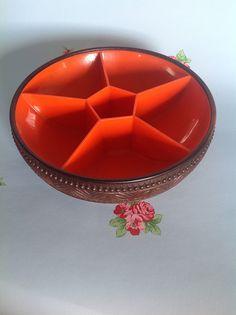 englishcookies vintage retro Emsa bowl orange brown geometry