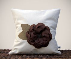 "16"" Cream PILLOW COVER - Chocolate Brown Felt Flower - Olive Burlap Leaves Cottage Home Decor by JillianReneDecor"