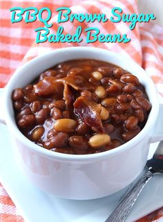 These crockpot bbq brown sugar baked beans are rich, tangy and just the right consistency. So easy to make and so incredibly flavorful. Baked Bean Recipes, Healthy Crockpot Recipes, Slow Cooker Recipes, Cooking Recipes, Crockpot Ideas, Fun Recipes, Veggie Recipes, Beans In Crockpot, Bbq Beans