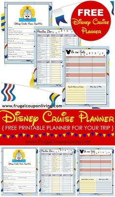 FREE Disney Cruise Planner on Frugal Coupon Living. Print for your next trip! Tips, Tracks, Notes, Hacks and more for your next Disney Vacation!