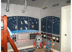 This was the funnest room I have ever done! My son said he wanted his room to look like the inside of a spaceship...so I did my best. I first painted the walls with magnetic paint so he could use those magnets and move them around wherever he wanted.
