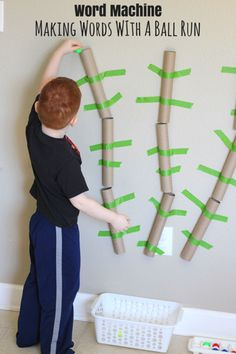Word Machine: Making Words With a Ball Run. Teach kids to put letters together and make words with this fun activity!
