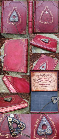 Victorian Ouija Board Spirit Jornal  by ~BCcreativity  Artisan Crafts / Folding & Papercraft / Bookbinding & Bookmaking©2012 ~BCcreativity  This one took some time to create. Encased in a beautiful Italian goats leather hand tooled. I created a Planchette and designed a Ouija board that is on the inside cover.   The planchette is chained to the back cover and is connected on the front to a magnetic facet.  The text block is 8.5x11 and the finished size is 8.75x11.25  It contains marbled…