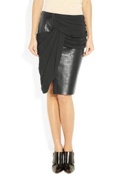Alexander Wang|Leather and crepe skirt|NET-A-PORTER.COM