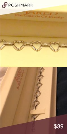 Sterling Silver Diamond Heart Bracelet ❤️ Sterling silver hearts are linked by diamond bars in this romantic 7.5-inch bracelet for her. The total diamond weight of the bracelet is 1/20 carat. perfect Valentines Day Gift!! 💕 Jared Jewelry Bracelets