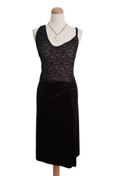 Argentine Tango Dresses | Sexy Velvet/Lace Tango Dress - conDiva    #blacktangodress #velvet #openback #sexy #milonga #performancedress #showdress #dancedress