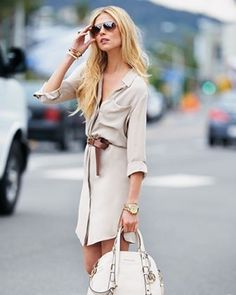 summer whites to fall: shirtdress, belted, white bag, aviators, 70s look