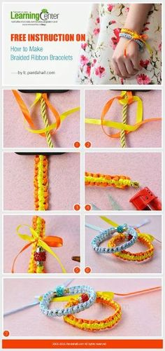 Free Instruction on How to Make Braided Ribbon Bracelets from LC.Pandahall.com | Jewelry Making Tutorials & Tips 2 | Pinterest by Jersica