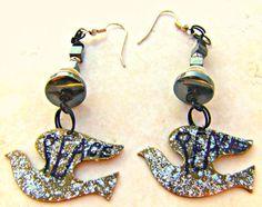 Dove Peace Earrings Hematite Earrings Direct by Lusmysticjewels, $10.00