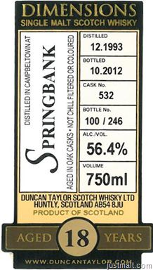 Duncan Taylor Dimensions - Single Malt Scotch Whisky Aged 18 years