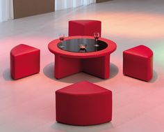 Table and little pullout seats all in one, perfect for the impromptu card game.