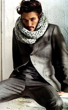 scarf + suit  as if men in the U.S. would ever dress like this, it would be great.