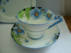 Lovely Art Deco Paragon Bone China Iceland Himalayan Blue Poppies Trio & Plate