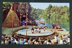 Vintage 1950s DISNEYLAND Frontierland Postcard Indian Village Dancers, Unused
