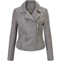 Miss Selfridge Grey Faux Leather Biker ($64) ❤ liked on Polyvore featuring outerwear, jackets, grey, women, vegan moto jacket, grey jacket, gray jacket, faux leather motorcycle jacket and moto biker jacket