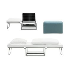 Ottoman: manufacturer:  BoConcept BoConcept makes a solid range of sleeper sofas, but this jack-in-the-box of footstools adds optional snooze space in an especially compact package.