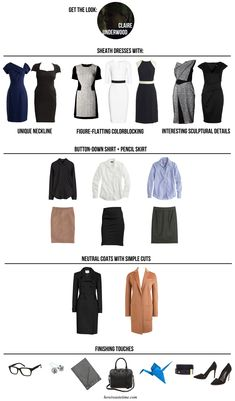 Perfect capsule wardrobe for work: House of Cards: Claire Underwoods Style via How I Waste Time Check out Dieting Digest