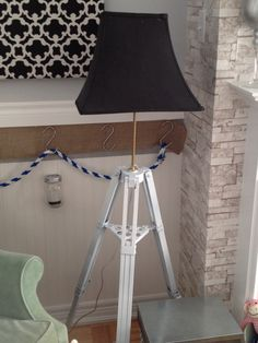 Use any old tripod (featured telescope tripod) as a base for a new lamp. Tripod Lamp, Telescope, Base, Lighting, Projects, Diy, Inspiration, Ideas, Home Decor