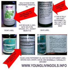 """""""What's the difference between Young Living Oils the oils you can buy in a health food store?"""" Here is a label comparison. """"100% pure."""" So why is it different? 100% pure, there needs to be a certain percentage of compounds. The oil maybe synthesized in a lab to meet those compound requirements, and CALLED 100% pure. Young Living's oils are NOT synthesized in a lab. To be medicinal-grade like Young Living as opposed to just fragrant, the oil has to be grown and distilled a certain way."""