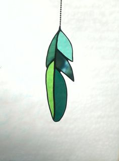 Stained Glass Feather Suncatcher in Natural Shades of Green
