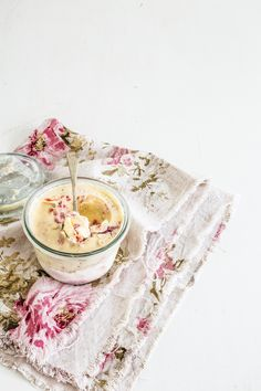 vanilla bean ice cream with roasted strawberries and rhubarb
