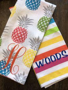 monogrammed tea towel- tea towel- kitchen towel- hostess gift- housewarming gift- wedding gift- gift for her-pineapple towel-tea towel