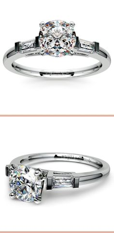 Two tapered baguette diamonds are prong set in this platinum diamond engagement ring setting, accenting your choice of center diamond.
