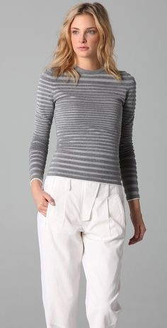 Alexander Wang Engineered Stripe Long Sleeve Top - StyleSays