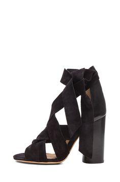 ISABEL MARANT   Amelia Wrap Calfskin Velvet Leather Heels in Black