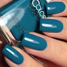 """A swatch of @colorclubnaillacquer's ""Road Trip!"" I start gravitating towards deeper teals once fall time approaches """