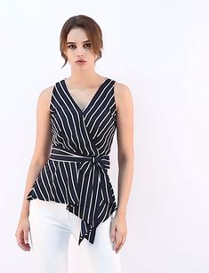Women's Striped Sleeveless V Neck Tie Waist Asymmetric Hem Wrap Peplum Top. Office Outfits Women, Fancy Blouse Designs, Kurti Designs Party Wear, Blouse Styles, Fashion Outfits, Clothes For Women, Top Top, Sewing, Sewing Clothes Women