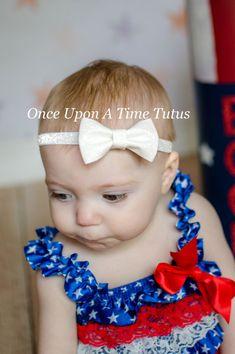 White Glitter Bow Sparkly Elastic Headband  by OnceUponATimeTuTus