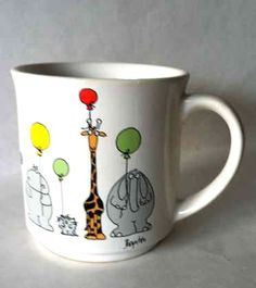 Sandra Boynton animals with balloons coffee mug