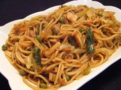 Chicken Lo Mein With Vegetables from Food.com: BETTER than carry out! When craving Chinese food we prepare this dish. The secret is in the last step--cooking the noodles until darken. Easy preparation.