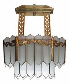 American Art Deco Bronze And Glass Chandelier, From Civ